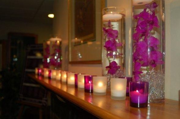 Found on Weddingbee.com Share your inspiration today!: Purple Centerpiece, Decoration, Inexpensive Centerpieces, Centerpieces Wedding Purple, Decor Centerpieces, Long Table, Center Piece, Flower Centerpieces Candles