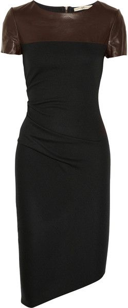 Halston Heritage Black Leather Detailed Wool Jersey Dress