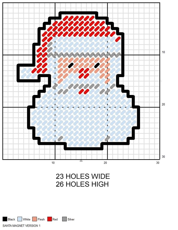 Christmas Santa Face Magnet plastic canvas pattern                                                                                                                                                                                 More