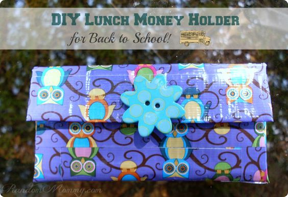 DIY lunch money holder using duct tape