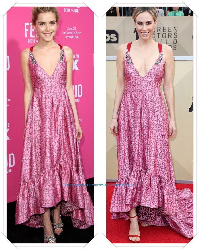 Un vestido de Erdem pre-fall 2017 se lo vimos primero a Kiernan Shipka en un evento; y en los premios SAG se lo vimos a Keltie Knight.