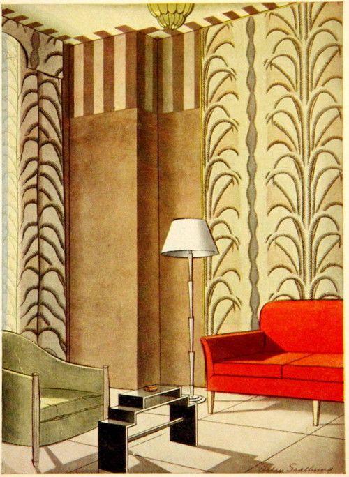 decoarchitecture:  Interior Design Illustration circa 1929 I love the tiny  coffee table.