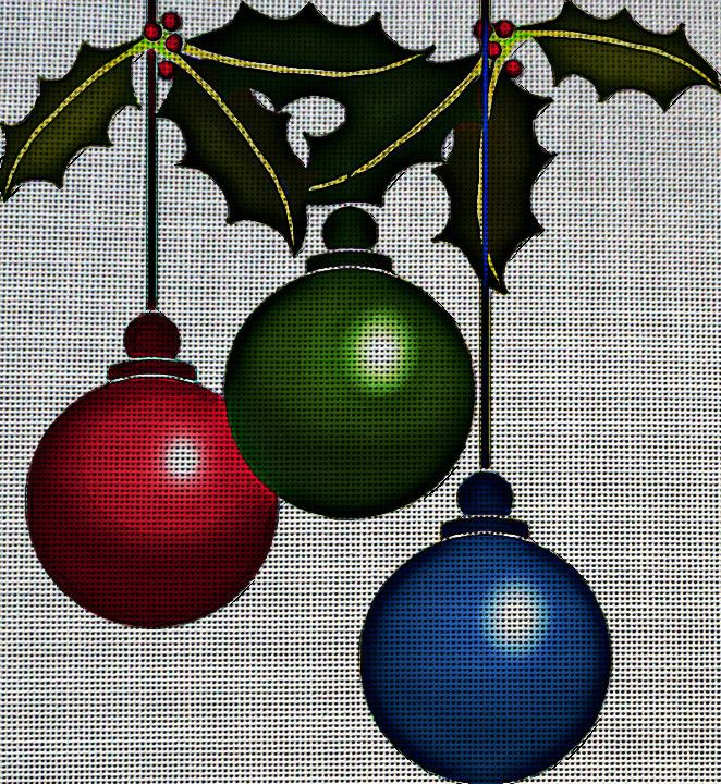 Needlepoint Canvas - Decorations christmas balls xmas