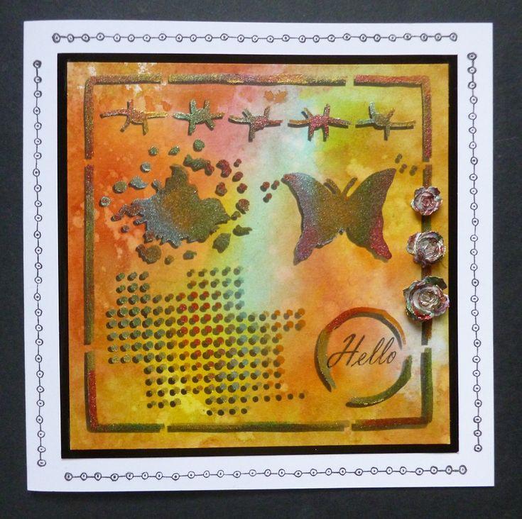 'Shadow Grunge Elements' card - Imagination Craft's -Grunge elements stencil.  Mixed Media Spray Inks.  Starlight paints.  Black shiny card.  Large stencil brush.  Magi-bond glue.  Black ink pad.  Rose dies by Sizzix.  July 2017.  Designed by Jennifer Johnston.
