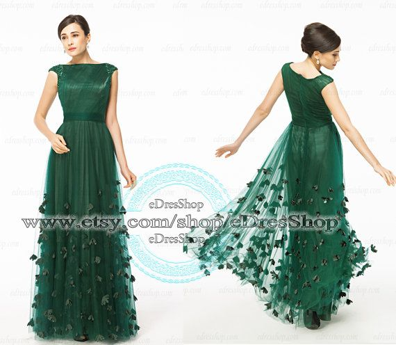 Modest Forest Green Prom Dress 2014 Long Cap Sleeves with hand sewn flowers on Etsy, $169.99