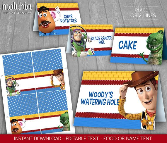 Toy Story Table Tent INSTANT DOWNLOAD Food Tent by MaluhiaPrints