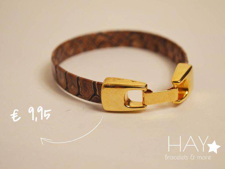 Armband met slangenleer   Bruin/ zwart