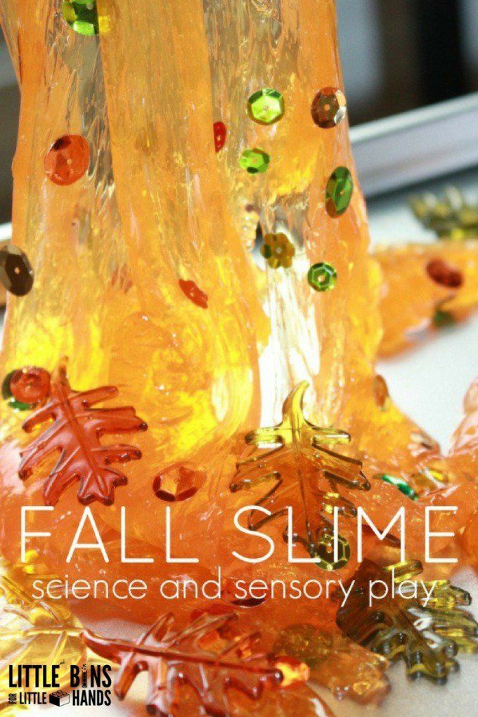 Fall slime recipe for fall science and fall sensory play