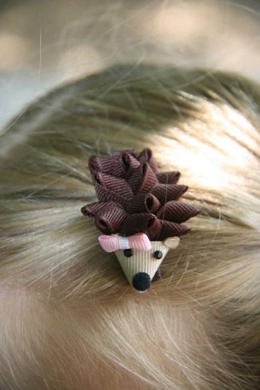 Hedgehog Ribbon Sculpture Hair Clip...why haven't these already been created?