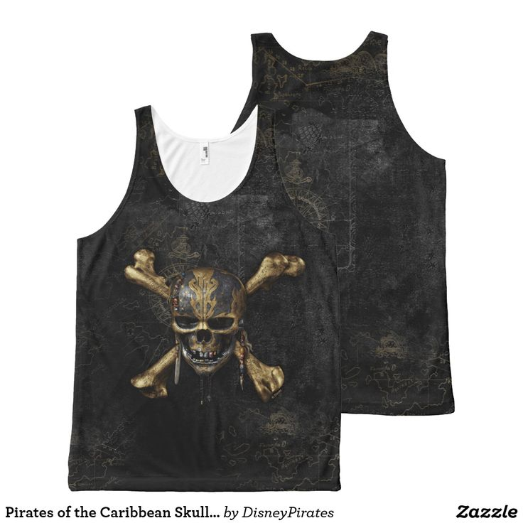 Pirates of the Caribbean Skull & Cross Bones All-Over-Print Tank Top Pirates of the Caribbean 5: Thrust into an all-new adventure, a down-on-his-luck Captain Jack Sparrow finds the winds of ill fortune blowing even more strongly when a crew of deadly ghosts led by his old nemesis, the terrifying Captain Salazar, escape from the Devil's Triangle, determined to kill every pirate at sea... including him. Captain Jack's only hope of survival lies in seeking out the legendary Trident of Poseidon…