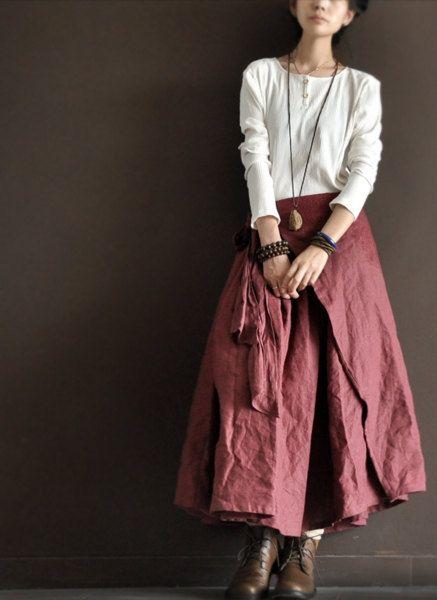 Linen Irregular Long Skirt Dark Pink Women Clothing door deboy2000