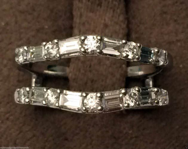 14kt White Gold VS2 G Round Baguette Diamonds Ring Guard Wrap Solitaire Enhancer (0.50ct. tw) by RG&D