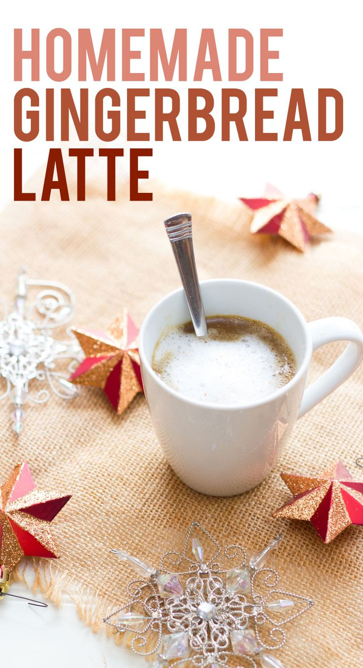 Skip the coffee shop and celebrate the holidays with this easy homemade gingerbread latte recipe. | Back to Her Roots