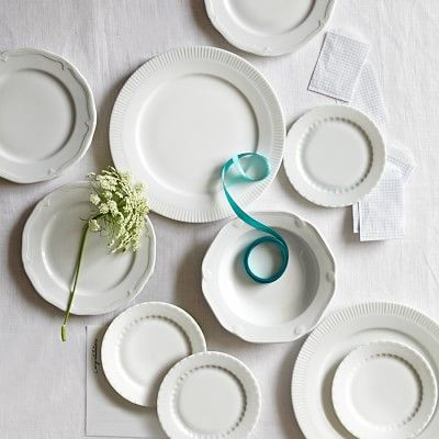 Pillivuyt Eclectique Dinnerware Collection, White #williamssonoma the bread and butter plates, coffee mugs, and cereal bowls