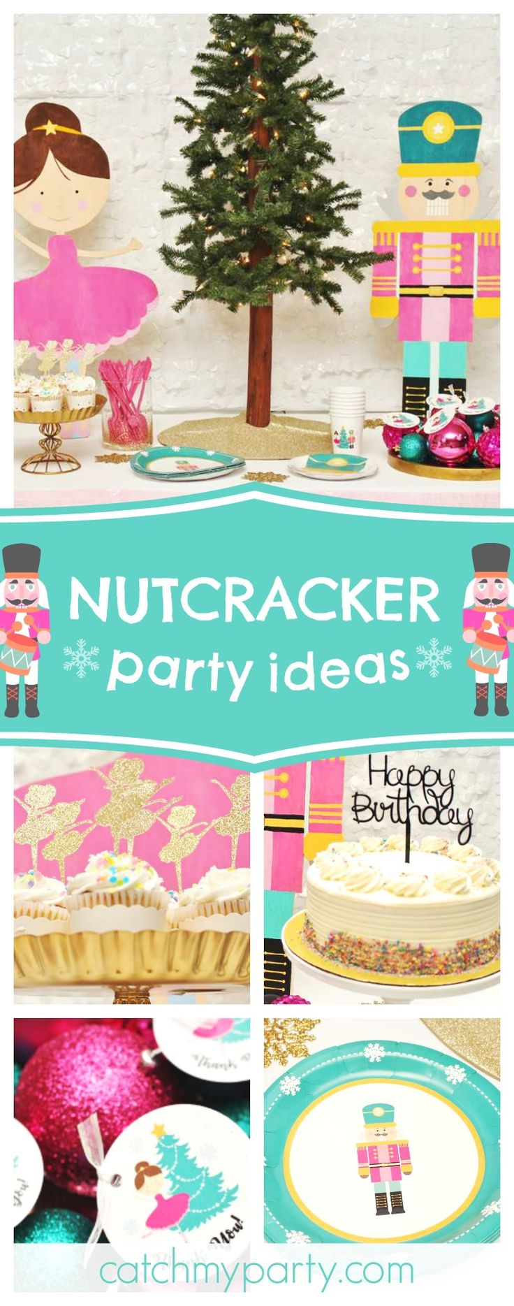 Don't miss this pretty Nutcracker birthday party! The ballerina cupcakes are adorable!!  #nutcracker #christmas #ballet #girlbirthday
