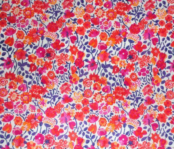 Liberty fabric Tana Lawn Kaylie Sunshine- 10''x26'' Fat Eighth Pink and Orange