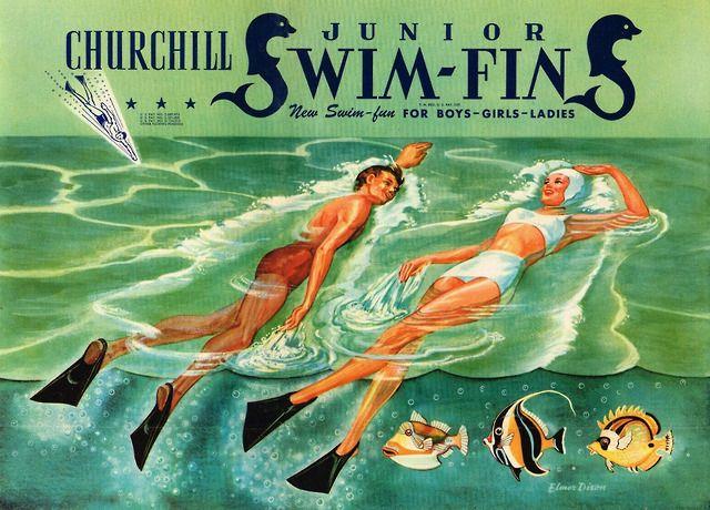 Churchill Swim Fins 1947 Ad Art By Elmer Dixon In 2020 Ad Art Retro Images Churchill Swim Fins