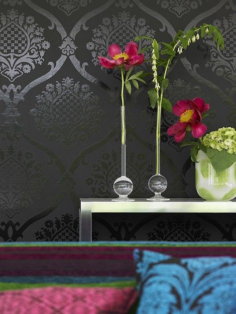 LOVE!!!!!!    Gray dark wallpaper (could be matte stencil over same color paint) and flowers