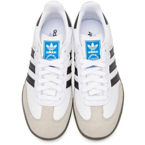 adidas Originals White Samba OG Sneakers ($100) ❤ liked on Polyvore  featuring shoes,