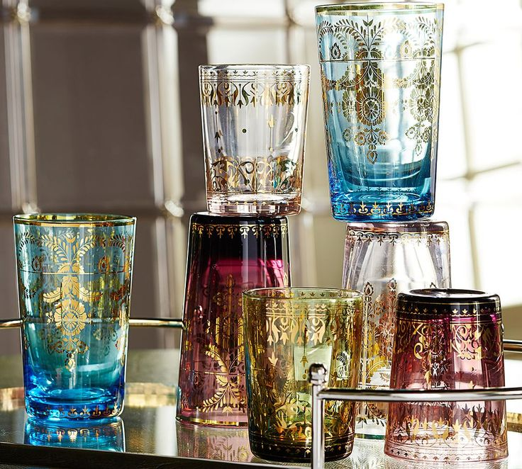 These delicate glasses remind us of the Moroccan tea glasses we used on vacation.