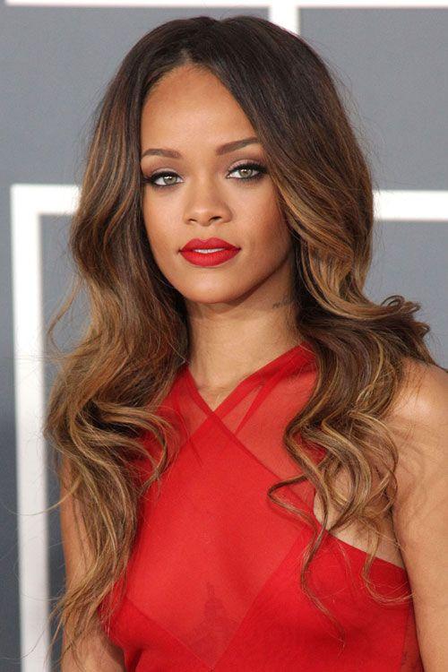 Rihanna Wavy Light Brown All Over Highlights Ombr 233