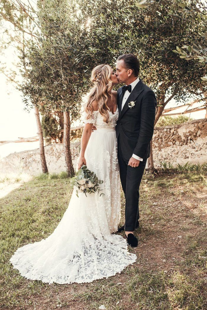 This Gown Designer And Her Groom Tied The Knot At Casa Privata On The Amalfi Coast Junebug Weddings Lace Beach Wedding Dress Online Wedding Dress Ivory Wedding Dress
