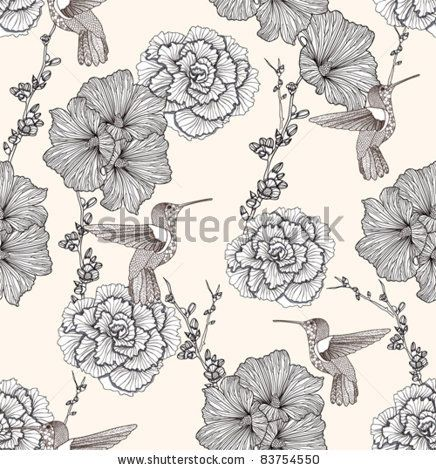stock vector : Seamless pattern with flowers and birds. Floral background.