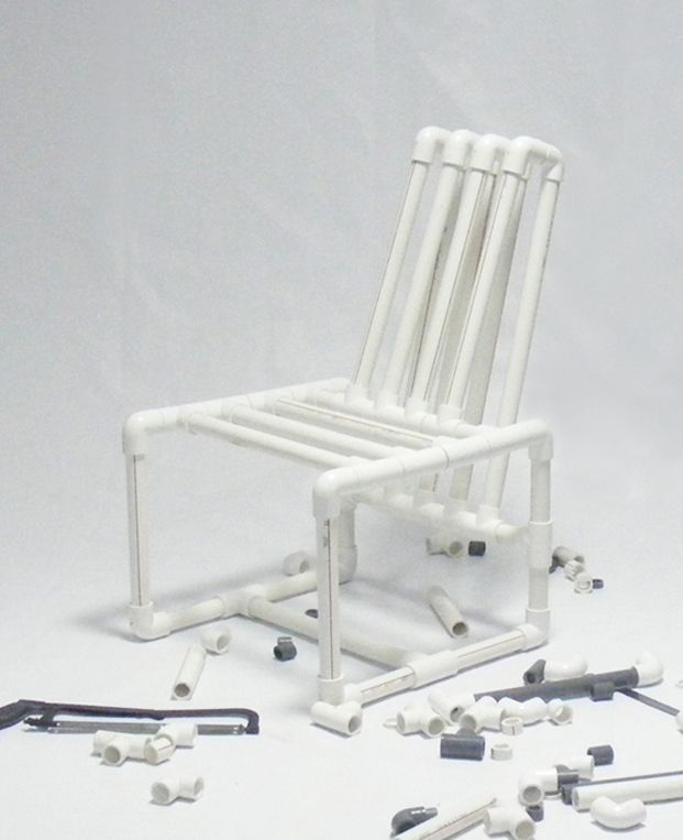 Pvc pipes chair by ahmed bedair furniture pinterest for Pvc pipe chair plans