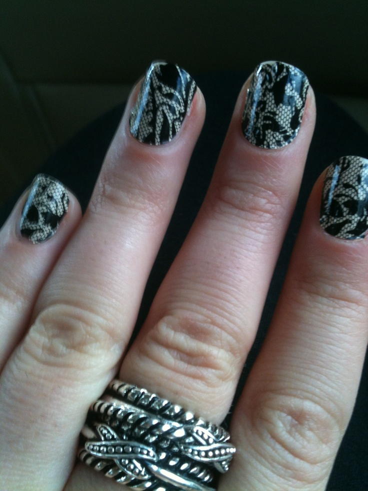 Black lace nail stickers