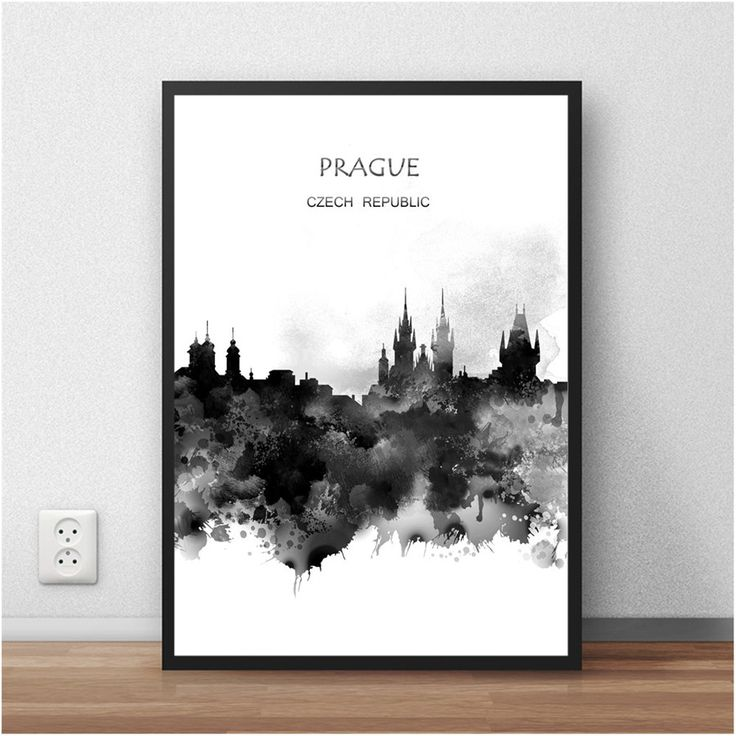 The World City Wall Picture PRAGUE Czech Republic Abstract Poster Watercolor Painting Living Room Home Decor Cafe Bar 42x30cm #Affiliate