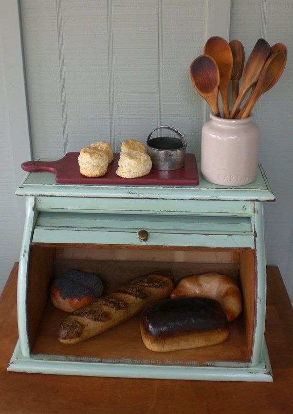 Vintage Wooden Bread Box Roll Top Tambour Mint by redshedvintage, $44.00