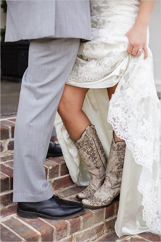 Wedding dress with cowgirl boots. So perfect for the southern bride. #cowgirlbride