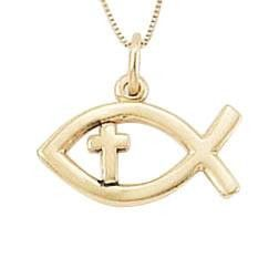 14k Gold Cross Necklace | Sideways Ichthys Fish