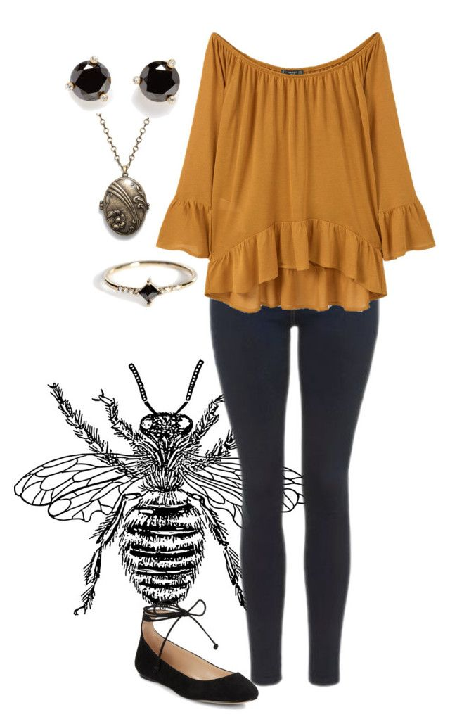 """""""Bee queen"""" by dreams-of-a-samurai ❤ liked on Polyvore featuring Topshop, MANGO, Karl Lagerfeld, Monserat De Lucca, Kate Spade and Jennie Kwon"""