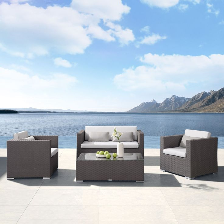 Armen Living Toronto 4 piece Outdoor Brown Rattan Set with Cushions and Taupe Accent Pillows , Patio Furniture