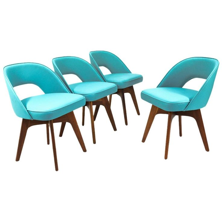 Lovely Set Of Four Chet Beardsley Swivel Dining Chairs