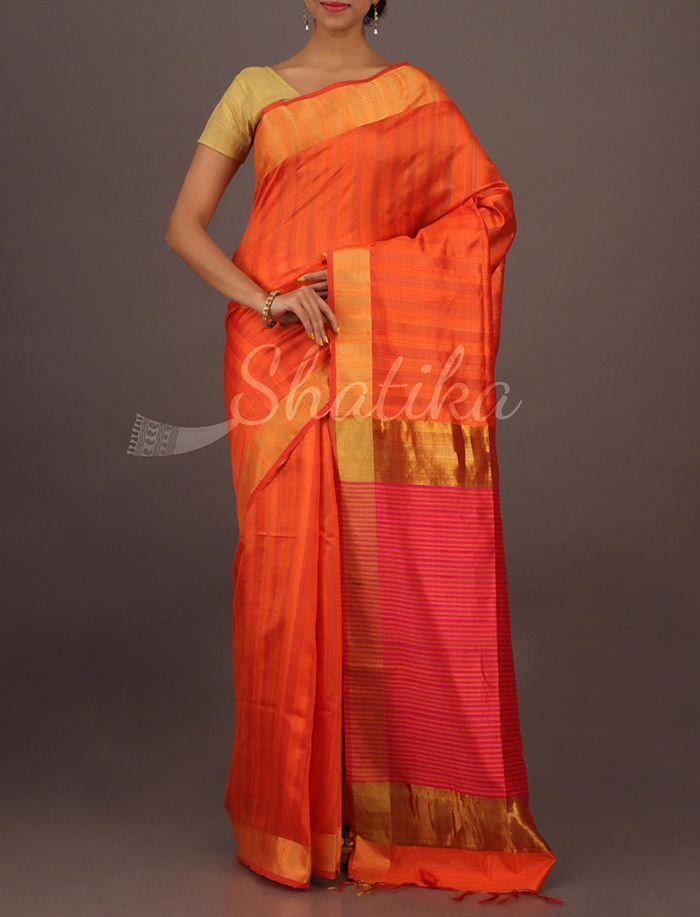 Ruby Orange And Pink Charming Plain #MatkaSilkSaree