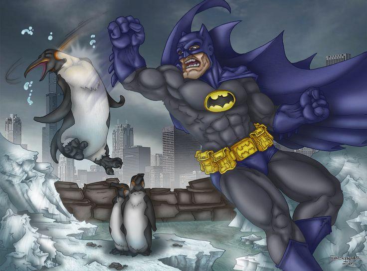 Batman VS Penguin by ~faceaway