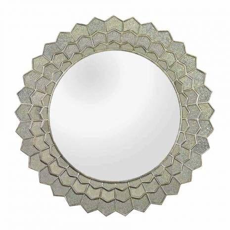 Antique Silver Mirror Framed Sunflower Wall Mirror