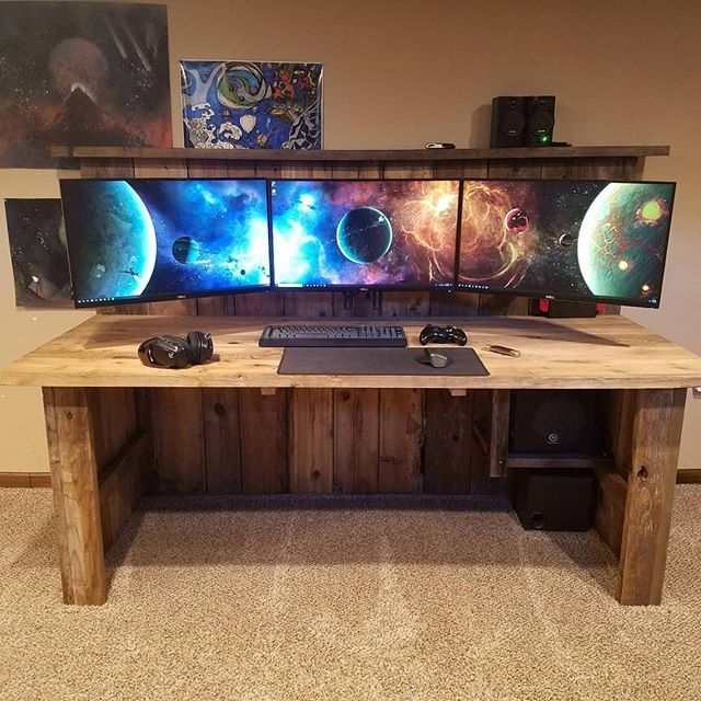 Wow Check Out Reddit User Zakh134 And His Custom Made Desk He Made With His Dad From Reclaimed Wood Go Show Home Office Furniture Furniture Computer Furniture