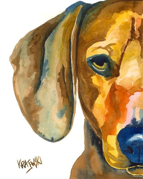 Dachshund Abstract Watercolor Painting Contemporary Art Print by Artist DJR