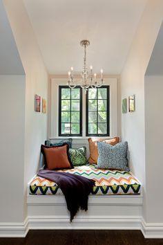Black window frame. Fun reading area using a window nook. Teen Bedroom idea 2 Design Group