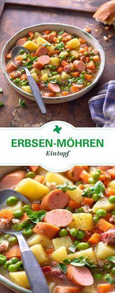 Rezepte wie in Kindertagen! Herzhafter Erbsen-Möhren-Eintopf. Mit Wiener Würst…