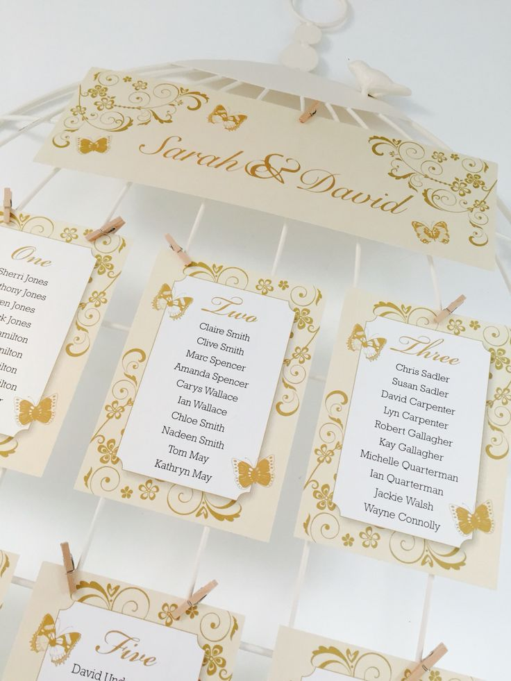 Gorgeous classic butterfly table plan in Ivory and gold