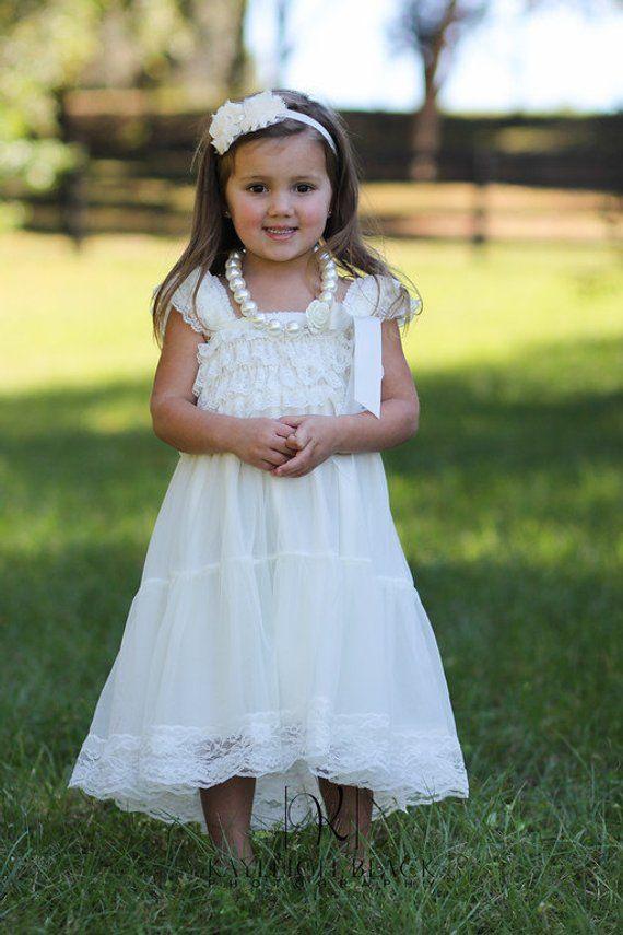 ce595d2fdba Ivory Chiffon Girls Dress- Flower Girl Dresses- Cream dress- Lace dress-  Rustic