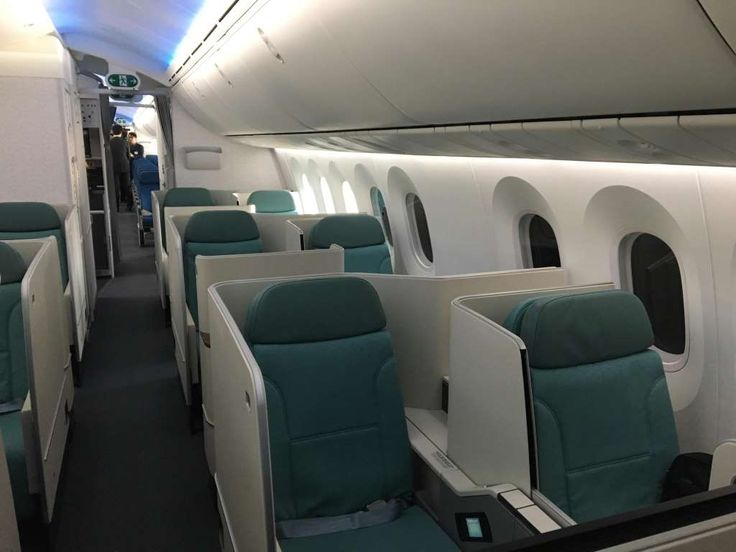 Korean Air shows off its brand new Boeing 787 Dreamliner  -  February 22, 2017:     Korean Air's business class cabin is seen as the carrier showed off its first Boeing 787‐9 Dreamliner during delivery ceremony festivities at  Boeing's 787 facilities in North Charleston, S.C., on Feb. 22, 2017.