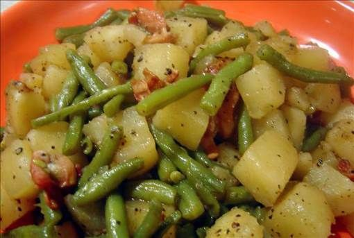 Green beans, potatoes and ham. 2 lbs green beans, 2 lbs ham, 4 potatoes, 1 onion, 3 cups water. Put in crock pot, cook on low for 6 hours.