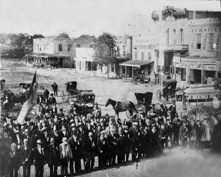 Gathering of Battle of San Jacinto veterans in Belton, 1883. Really cool shot.