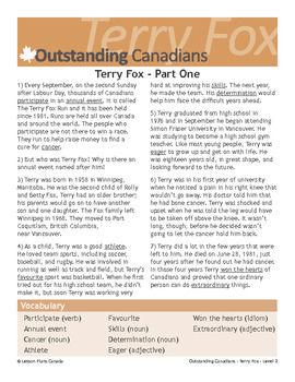 Terry Fox, An Outstanding Canadian (ESL 2)