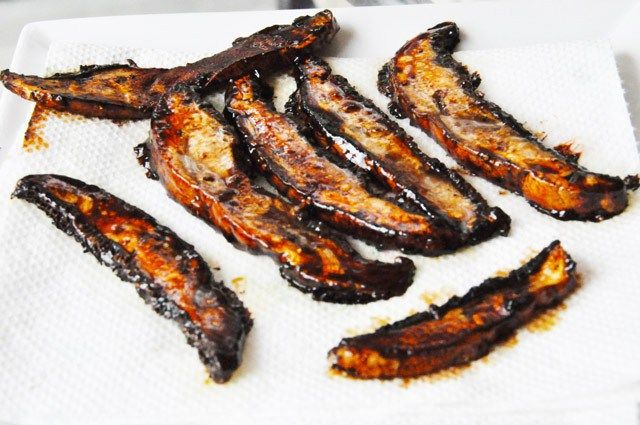 Portobello Mushroom Bacon      1 tablespoon coconut oil     One large Portobello mushroom – washed and patted dry     ¼ cup maple syrup     2 ounces liquid smoke     1 teaspoon salt     Pepper to taste Not crispy though.  Maybe experiment and try to make a crispy version?